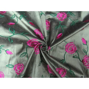"""100% SILK DUPION  black x light  green  pink rose FLORAL EMBROIDERY 54""""DUPE58[1]"""