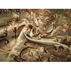 Silk Organza brown color with velvet embroidery