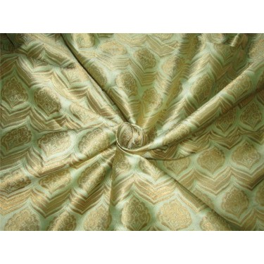 """Brocade fabric Mint green x metallic gold color 60"""" wide by the yard bro615[2]"""