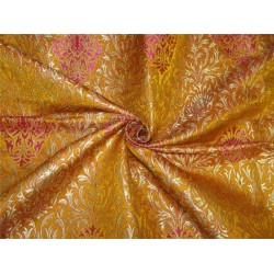 Heavy Silk Brocade Fabric pink golden yellow x Metallic Gold color 36''bro614[3]