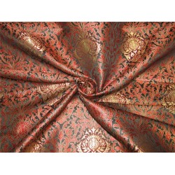 Heavy Silk Brocade Fabric Black ,Red x Metallic Gold color 36'' bro614[1]