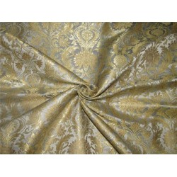 Heavy Silk Brocade Fabric dusty grey x Metallic Gold color 36'' bro613[4]