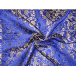 "Brocade fabric Royal blue x metallic gold color 44""wide bro612[4]"