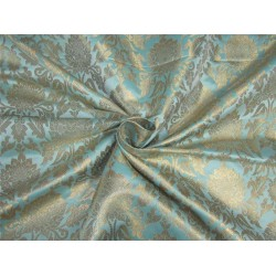 "Brocade fabric blueish green x metallic gold color 44""wide bro611[3]"