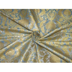 Heavy Silk Brocade Fabric blue x Metallic Gold color 36'' bro613[3]