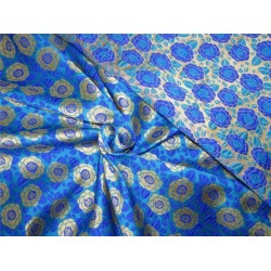 "Reversible Brocade fabric turqoise/royal blue x gold color 46"" wide bro612[3]"
