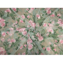 heavily embroidered net fabric mint green x pink 44'' wide B2#89