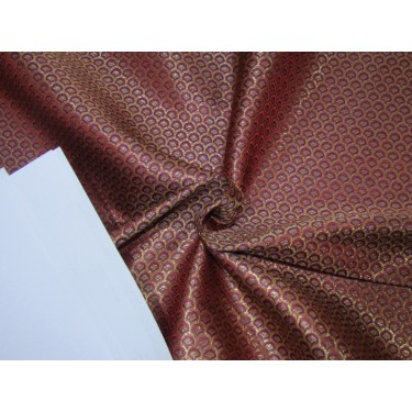 """SILK BROCADE FABRIC MAROON WITH ROYAL BLUE & METALLIC GOLD COLOR 44""""INCHES BRO382[3] by the yard"""