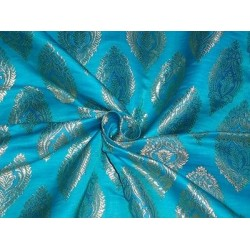 SILK BROCADE FABRIC Blue & Metallic GOLD Colour