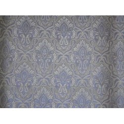 SILK BROCADE FABRIC Grey,Ivory & Metallic Blue 44""