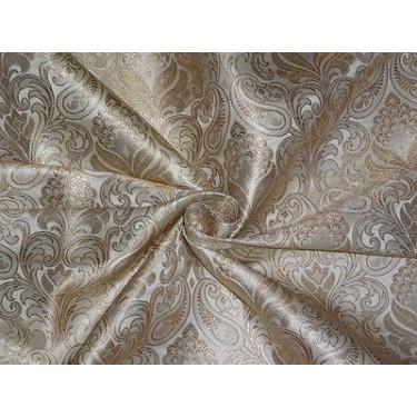 SILK BROCADE FABRIC Cream amp Metallic GOLD 44