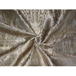 """BROCADE FABRIC Gold,Light Silver & METALLIC GOLD COLOR 44"""" BRO386[2] BY THE YARD"""