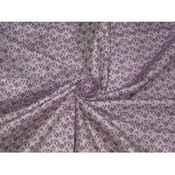 SILK BROCADE FABRIC Ivory & Pinkish Purple COLOUR 44""
