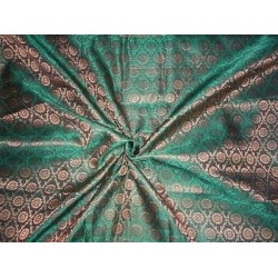 Spun Silk Brocade fabric Green & Metallic Gold Colour