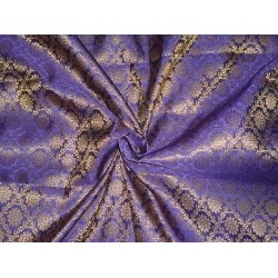 Spun Brocade Fabric Ink Purple & Metallic Gold color 44""