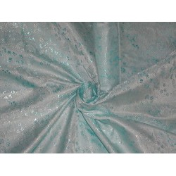 SILK BROCADE FABRIC SHADES OF BLUE COLOUR 44""