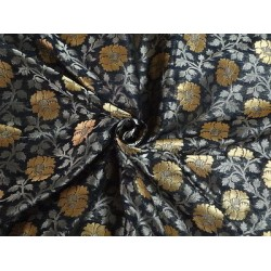 100% PURE SILK BROCADE FABRIC Georgette & Zari BLACK,Silver & Metallic GOLD