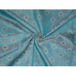 Spun SILK BROCADE FABRIC Metallic Gold & Blue COLOUR 44""