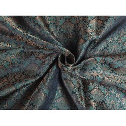 SILK BROCADE FABRIC Green & METALLIC GOLD COLOUR 44""