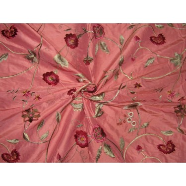 """100% SILK DUPION  CORAL  FLORAL EMBROIDERY 54""""SINGLE LENGTH 2.70 YARDS"""