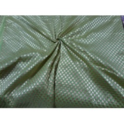 Tussar Silk Brocade Fabric sage green-polka