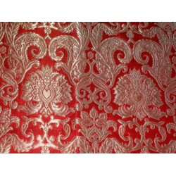 Heavy Silk Brocade Fabric Red & Metallic Gold