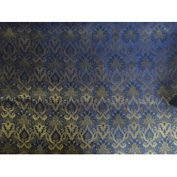 Spun  Brocade Fabric Midnight Blue & Metallic Gold color 44""