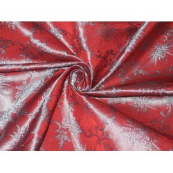"Pure Silk Brocade~Width 44""~Red & Blue Colour 2 tone color"