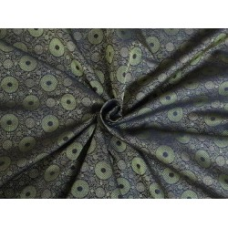 Spun SILK BROCADE FABRIC Metallic Gold,Brown & Green COLOUR 44""