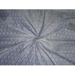 Spun SILK BROCADE FABRIC BLUE & Ivory COLOUR 44""