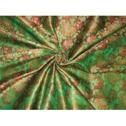 "Silk Brocade fabric green & red 44"" BRO586[4]"