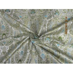 "Heavy Brocade Fabric ivory slate blue,green x Metallic Gold Color 36""bro587[1]"