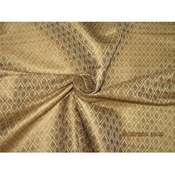 "Silk Brocade Fabric 4.35 YARDS beige x metallic gold 44""BRO588[3]"