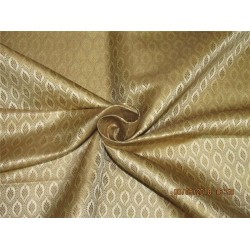 "Silk Brocade Fabric 4.35 YARDS beige x metallic gold 44""BRO588[5]"