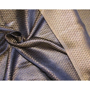 "Reversible Brocade Fabric navy blue x metallic gold Color 44"" Bro590[3]"