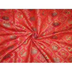 """Brocade Fabric red,pink  x metallic gold color and elephant figure 44"""" Bro590[1]"""