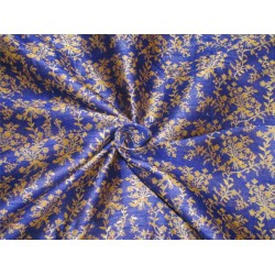 Brocade Fabric ROYAL BLUE  X gold color 44'' BRO592[4]