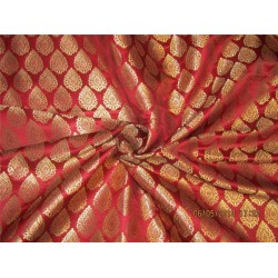 "Silk Brocade Fabric 3.25 YARDS Maroon x metallic gold 44""BRO588[7]"
