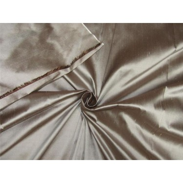 """100% Silk Dupioni fabric brown x silver color 54"""" wide DUP257[2]"""