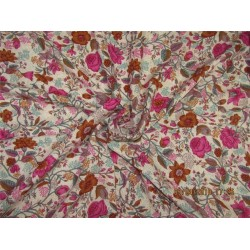 """Modal printed fabric Ivory, pink,brown 44"""" wide-floral"""