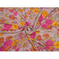 "Modal printed fabric Yellow x pink 58"" wide-floral"