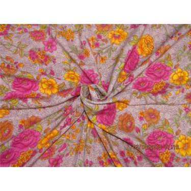 """Modal printed fabric Yellow x pink 58"""" wide-floral"""
