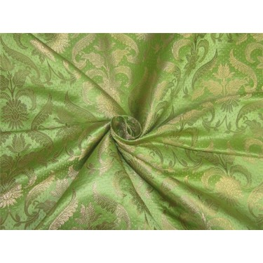 "Brocade fabric Apple green x metallic gold 44"" BRO593[4]"