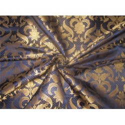 "Brocade fabric navy blue x metallic gold 44"" BRO593[2]"