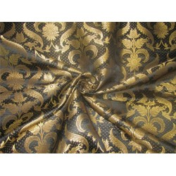 "Brocade fabric black x metallic gold 44"" BRO593[1]"