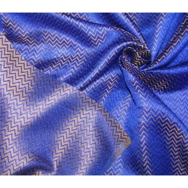 "Reversible Brocade Fabric Royal blue x metallic gold Color 44"" Bro590[4]"