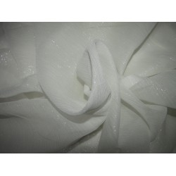 White~100% silk chiffon fabric 44 inches-SILVER SHIMMER id=10267