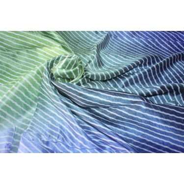 """100% silk fabric 14 MM STRIPED BLOCK PRINT fabric 44"""" wide royal blue/blue and green"""