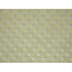 Cotton organdy floral printed fabric Lime Yellow Color