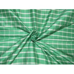 "100% SILK Dupioni FABRIC 54"" wide GREEN IVORY color plaids DUPC105[2]"